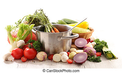 rauwe, pot, groente, het koken