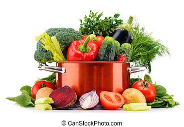 rauwe, pot, groentes, vrijstaand, white.