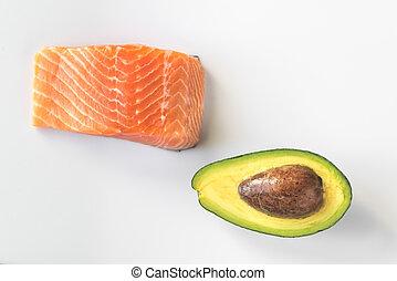 rauwe, salmon, avocado