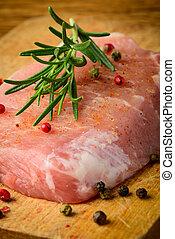 rauwe, varkensvlees, biefstuk, closeup
