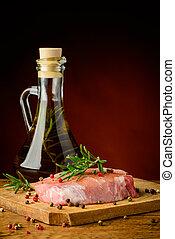 rauwe, varkensvlees, vlees, biefstuk, en, olijvenolie