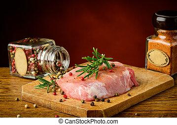 rauwe, varkensvlees, vlees, en, kruiden