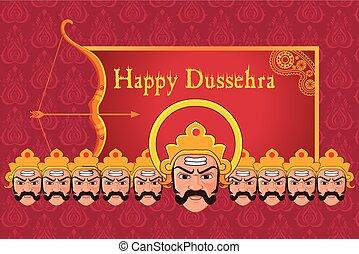 Ravana in Happy Dussehra - vector illustration of Ravana in...