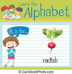 ravanello, r, lettera, flashcard