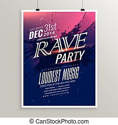 rave party music flyer template