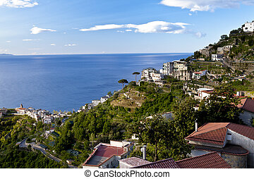 Ravello, Amalfi Coast, view towards the city of Minori, road...