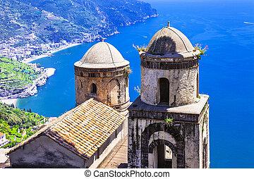 ravello, paysage, église, vue, côte, village, amalfi, beau