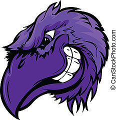 Cartoon Vector Mascot Image of a Raven, Crow or Black Bird Head