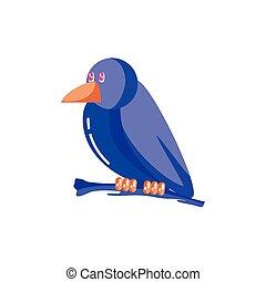 raven bird on white background