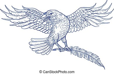 Raven Carrying Quill Drawing