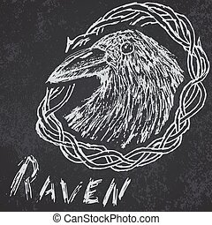 Raven Crow hand drawn sketch