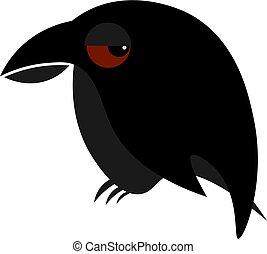 Raven illustration vector on white background
