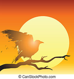 Raven or crow perched in a tree in front of the setting sun in vector illustration.
