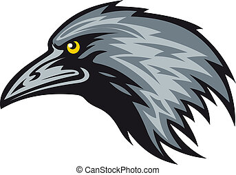 Raven mascot - Head of black raven for mascot. Vector...