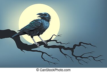 Raven on a tree in front of the moon