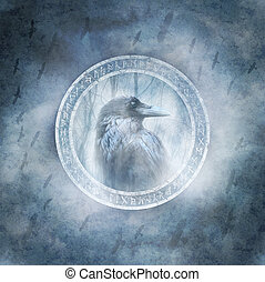 Raven Spirit - Raven enclosed within a ring of mysterious...
