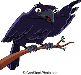 Raven - Vector illustration of a raven sitting on a branch...