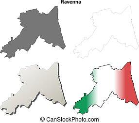 Ravenna blank detailed outline map set - Ravenna province...