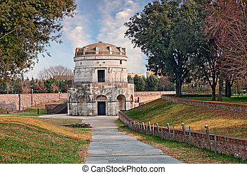 Ravenna, Italy: the mausoleum of Theodoric, ancient monument...