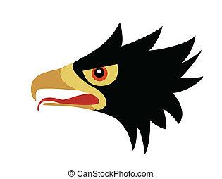 ravenous, hoofd, tekening, vogel