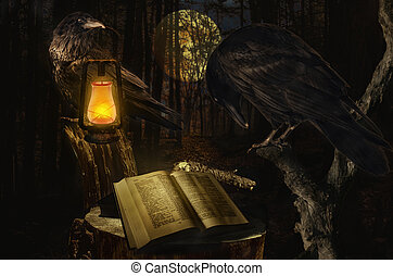 Ravens read the book. Concept, the raven symbol of longevity and wisdom, seeking knowledge in the experience of the past.