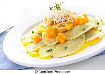 Ravioli dinner - Gourmet squash ravioli dinner served with...