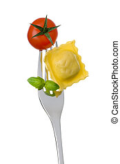 ravioli, főtt tészta, paradicsom, és, bazsalikom, képben látható, villa, ellen, white háttér