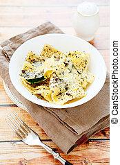 ravioli in a white bowl