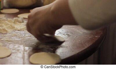 ravioli ingredients, prepare home-cooked dumplings on the table, floured