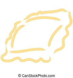 Stylized illustration of a ravioli