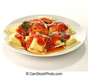 Ravioli pasta with red tomato sauce