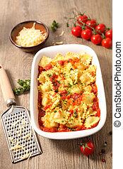 ravioli, tomato sauce and gruyere