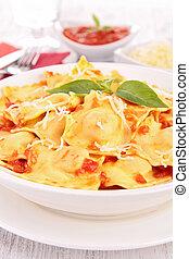 ravioli with tomato and gruyere