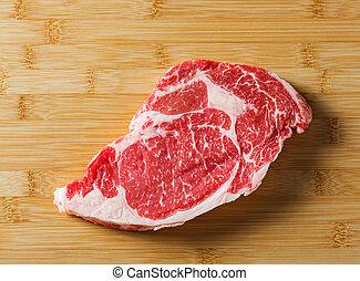 Raw aged beef ribeye steak