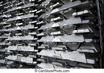 Raw aluminium ingot - Stack of raw aluminium ingots in...