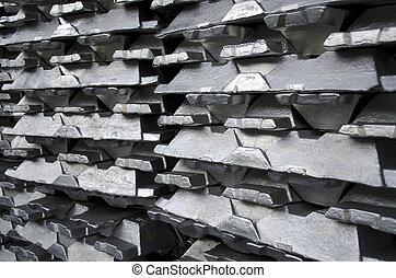Raw aluminium ingot - Stack of raw aluminium ingots in...