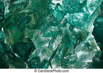 Raw aquamarine glass in close up view