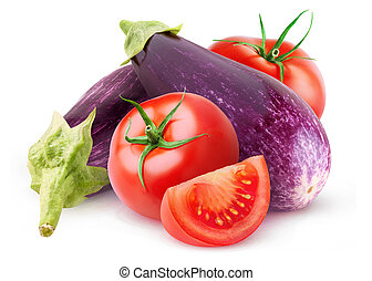 Raw aubergines and tomatoes isolated on white