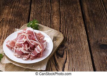 Raw Bacon (close-up shot)