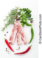 Raw bacon ribs with rosemary