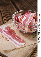 Raw Bacon slices
