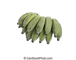 Raw banana on white background.