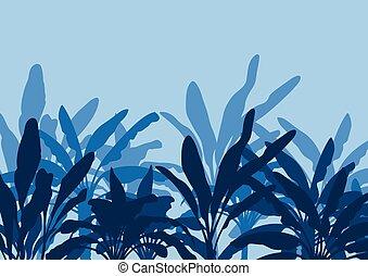 Raw banana tree farm field vector background