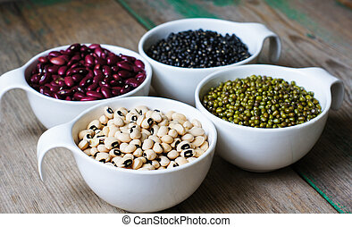Raw beans - Four types of dry beans in the bowl