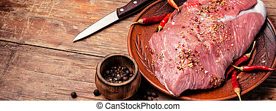 Raw beef meat fillet
