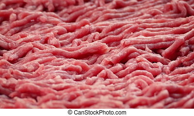 Raw Beef Mince - Closeup of raw beef mince turning slowly