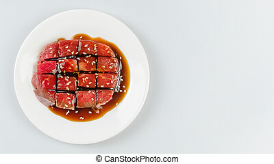 raw beef on a plate