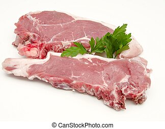 raw beef  - Cutlet raw beef on white background