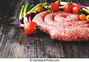 raw beef sausages, selective focus