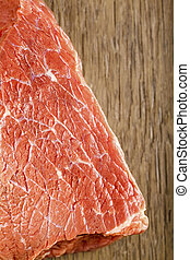 raw Beef sirloin closeup on wooden background